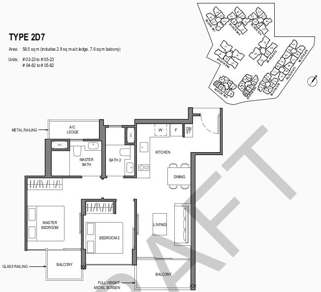 Parc Komo Condo Floor Plan . 2 Bedroom Deluxe Type 2D7