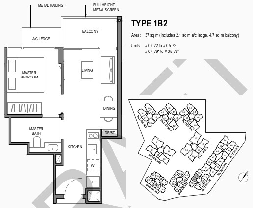 Parc Komo Floor Plan 1 . Bedroom Type 1B2