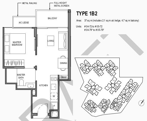 Parc Komo Floor Plan 1 . Bedroom Type 1B2