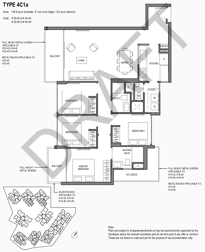 Park Komo Floor Plan . 4 Bedroom Compact Type 4C1a