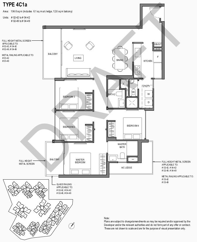 Park Komo Floor Plan . 4 Bedroom Compact Type 4C1a