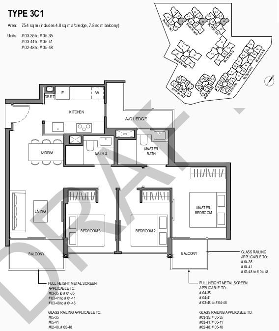 Parc Komo Floor Plans . 3 Bedroom Compact Type 3C1