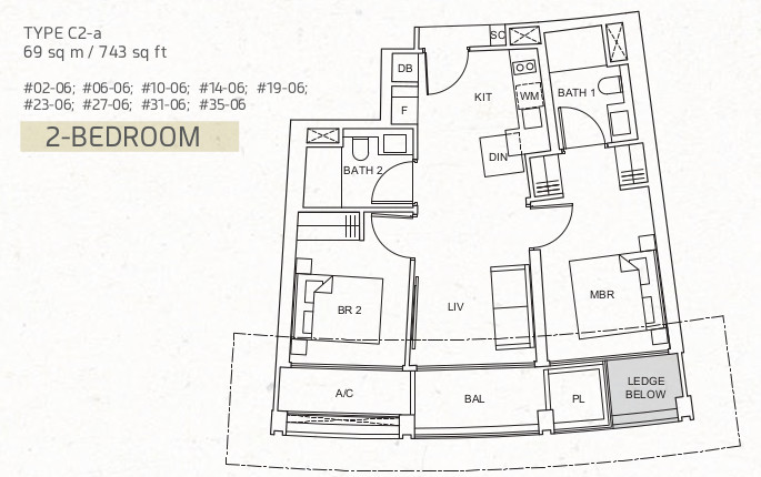 One Pearl Bank Floor Plan . 2 Bedroom Premium Type C2-a