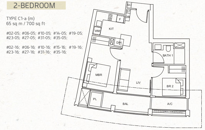 1 Pearl Bank Floor Plan . 2 Bedroom Type C1-a