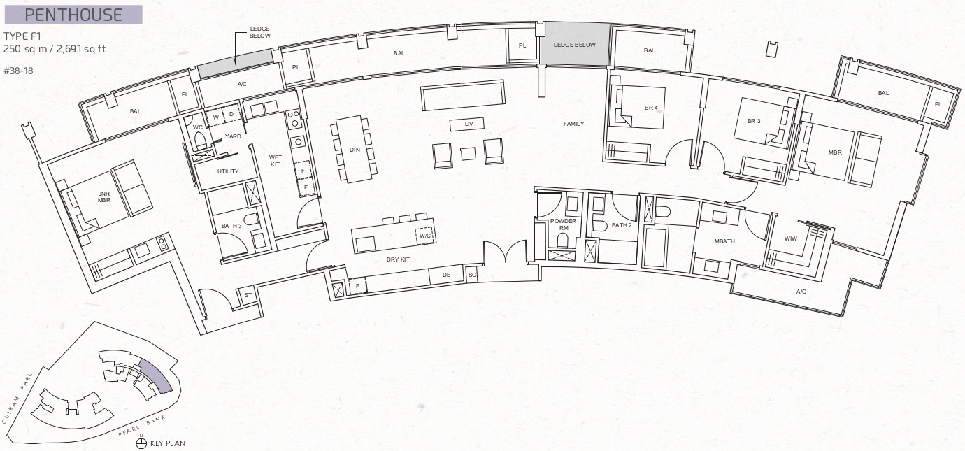 Floor Plan Layout . Penthouse Type F1