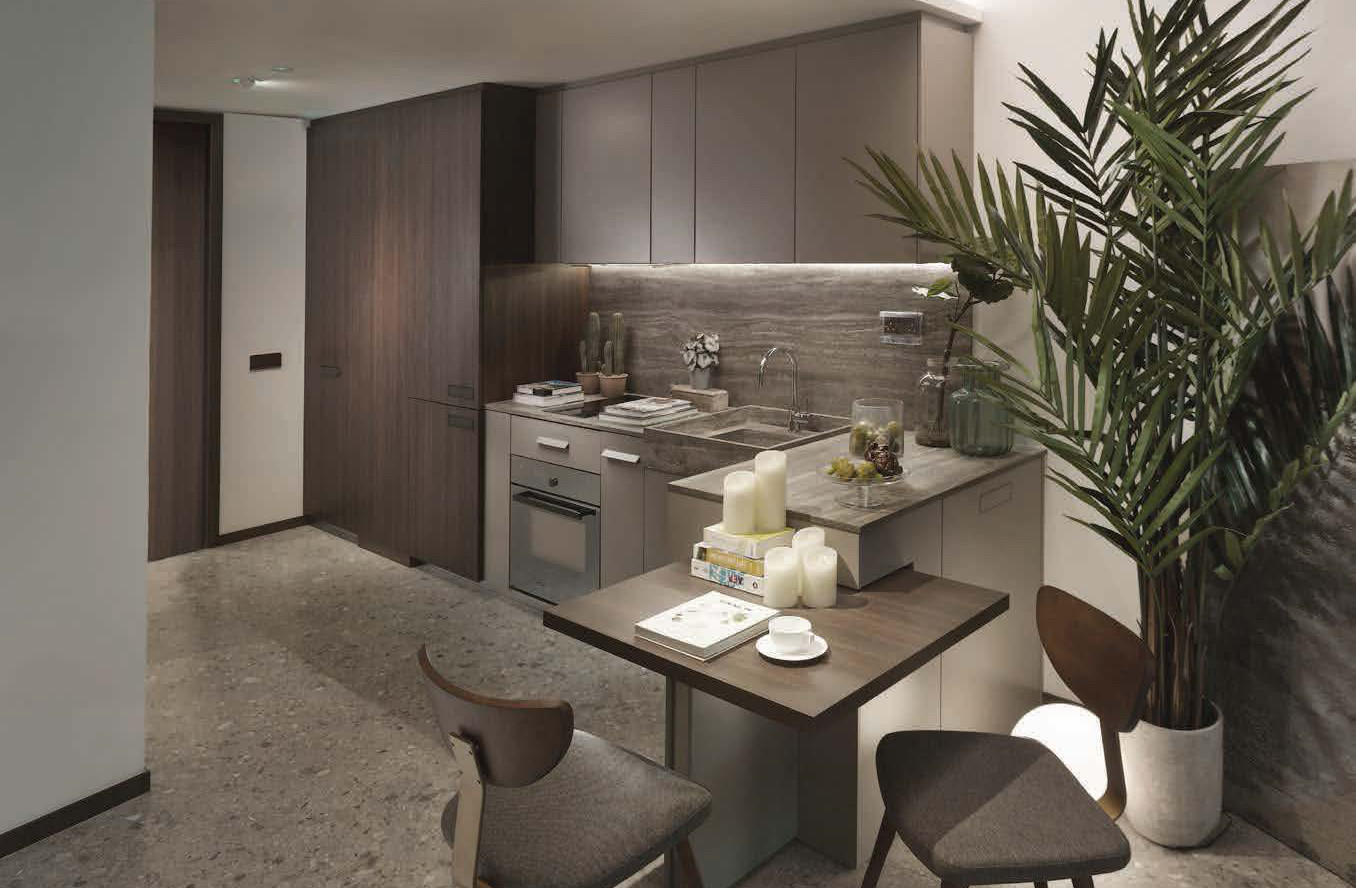 One Pearl Bank Showflat . Kitchenette and Dining