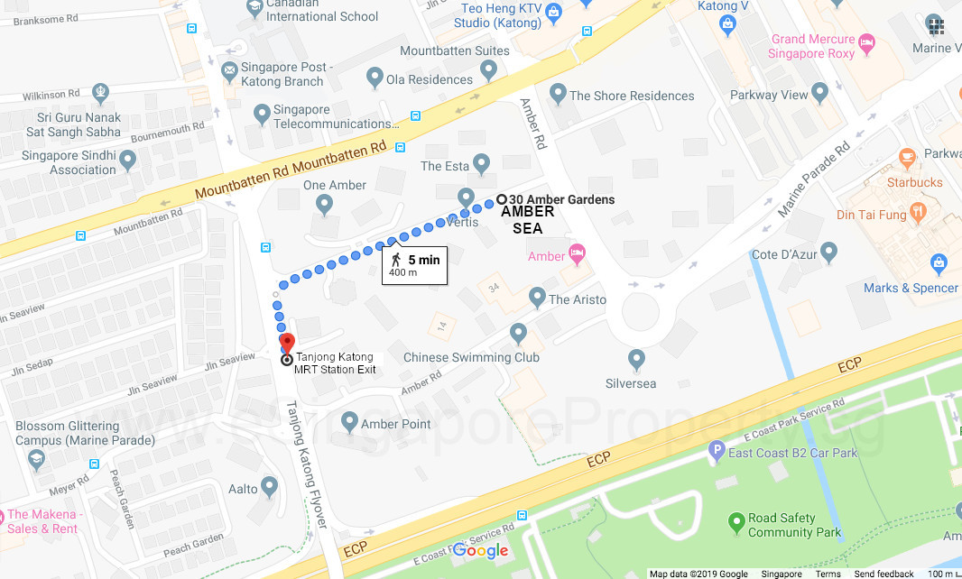 Amber Sea Location . Walking to Tanjong Katong MRT Station . Courtesy of Google