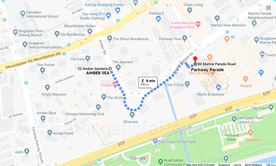 Amber Sea Site Location . Walking to Parkway Parade . Courtesy of Google