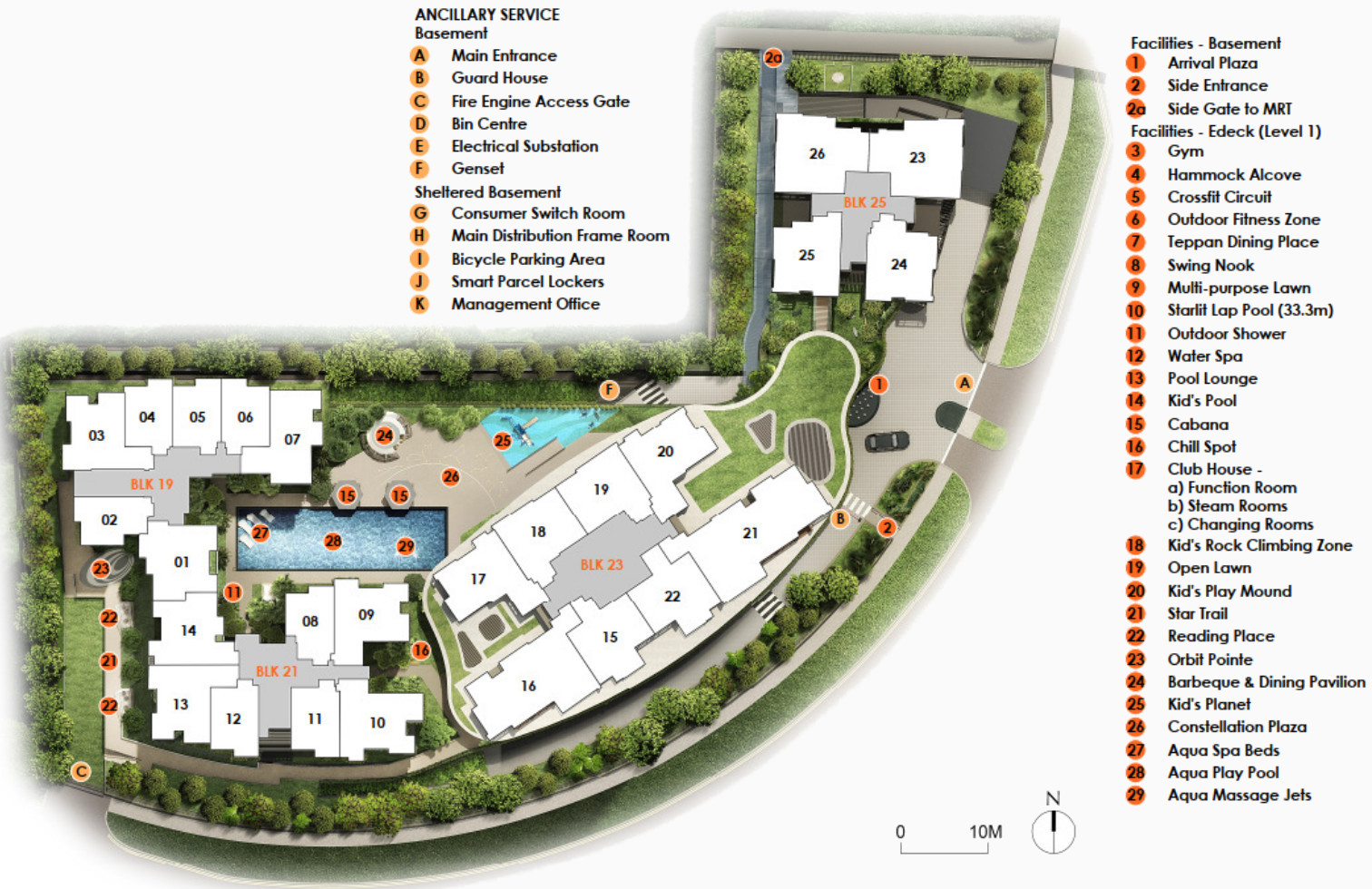 The Antares Site Layout . Amenities at Basement and EDeck