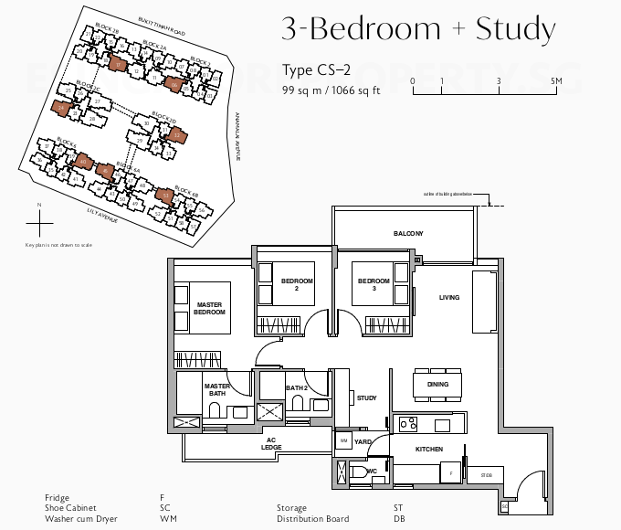 Royal Green Floor Plan . 3 Bedroom + Study Type CS-2