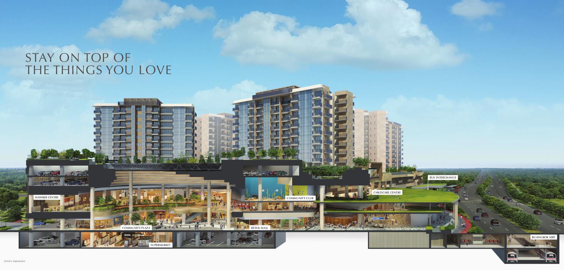 Sengkang Grand Residences . Integrated Development . Sectional Perspective
